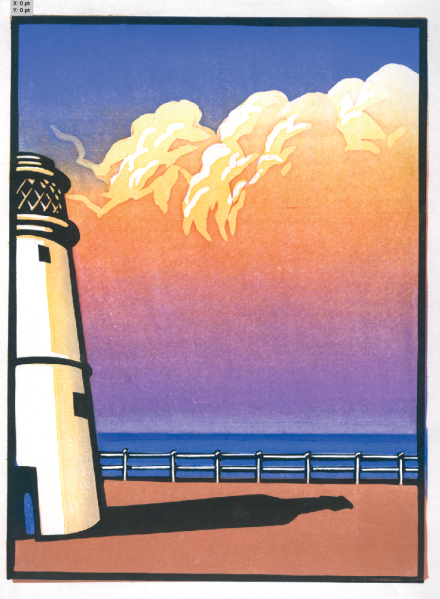 Adnams 'Lighthouse Sunset 2' Chris Wormell