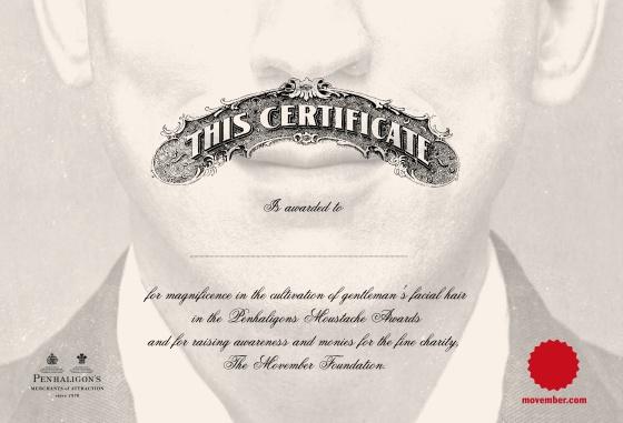 Penhaligon's 'Movember Certificate-01
