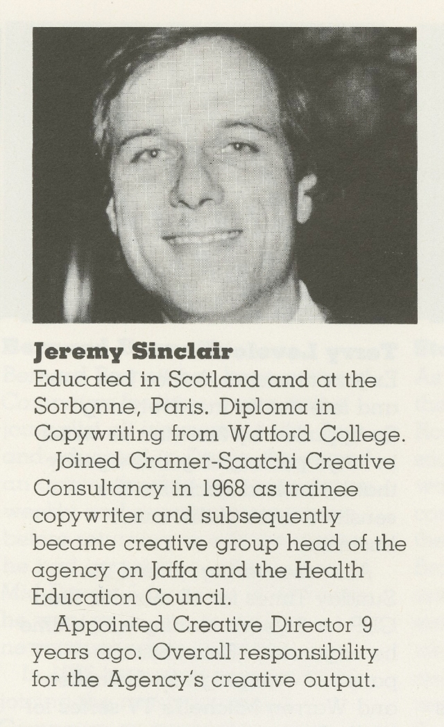 Jeremy Sinclair, Campaign Press biog, 1982 86923-01