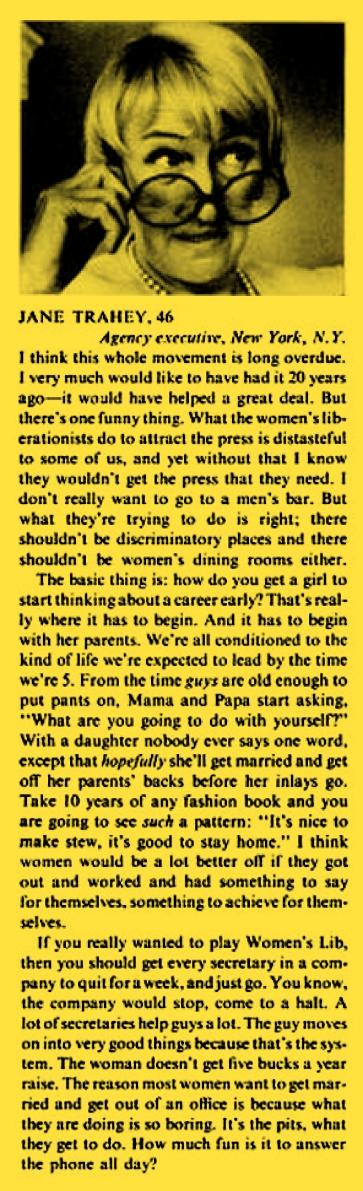 Jane Trahey, Article, Life-01