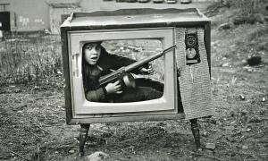 Arthur Tress photo boy in tv set boston 1972