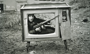 Arthur Tress photo boy in tv set boston 1972