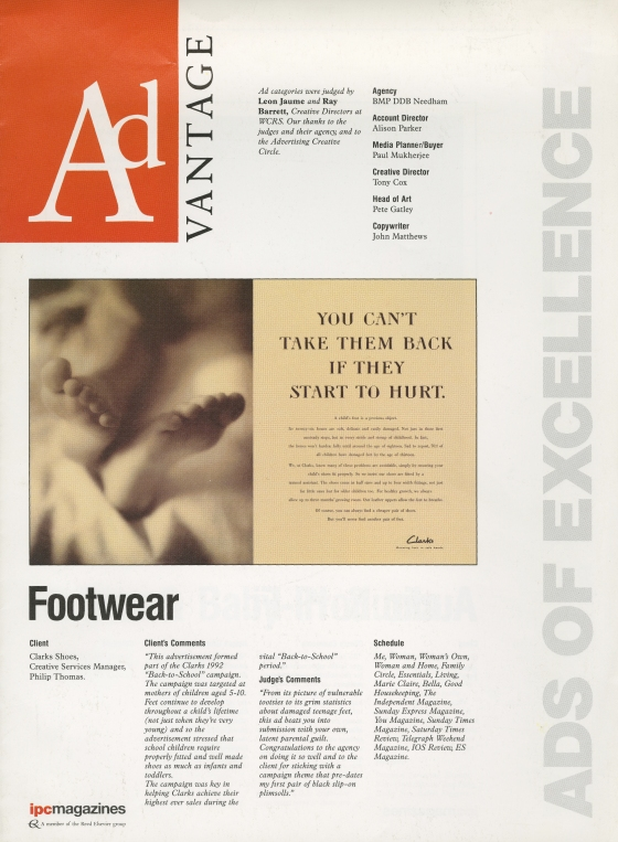 Clarks 'Advent', Dave Wakefield:Pete Gatley, BMP:DDB1
